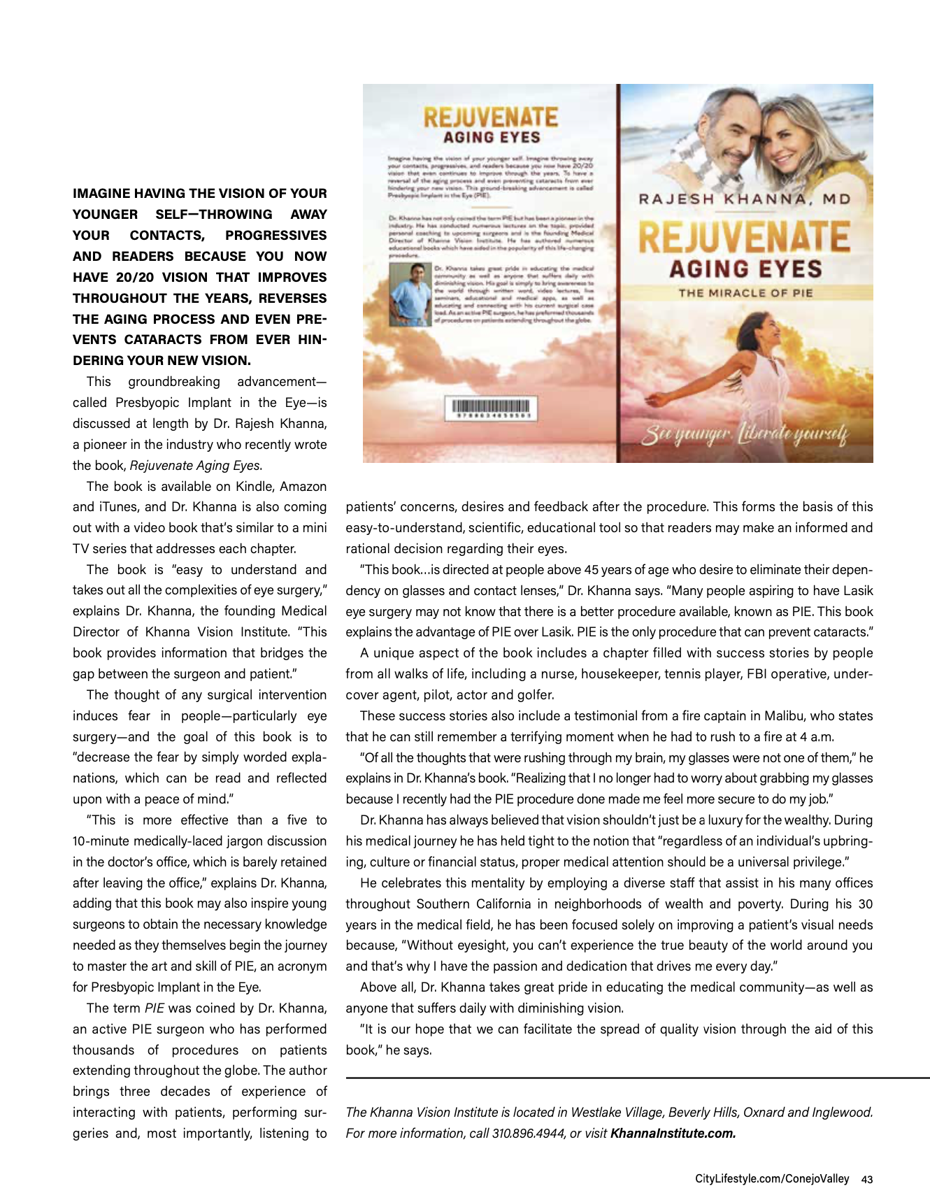 Dr Khanna Pie Surgery article in August issue of Conejo Valley Lifestyle