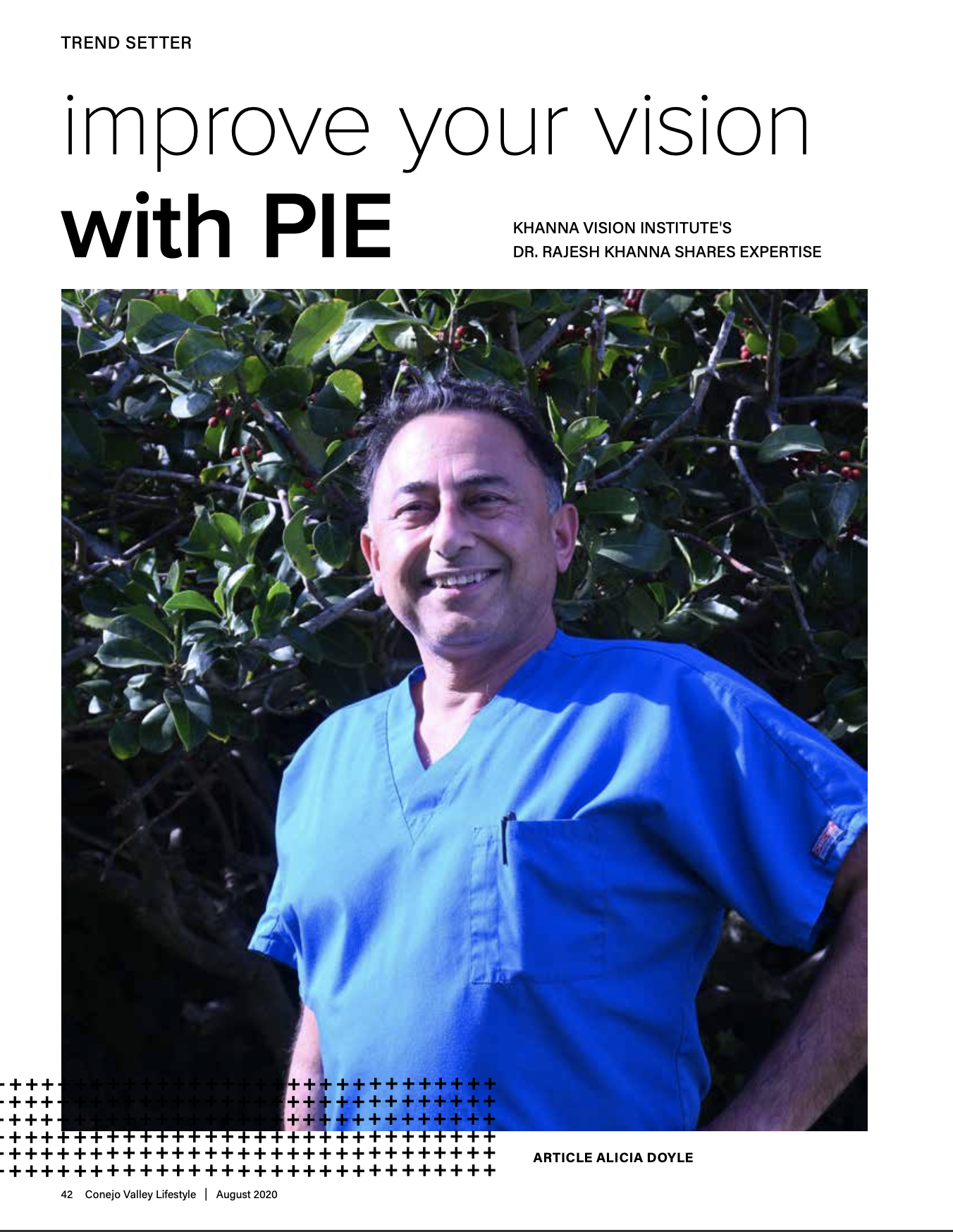 Cover photo Dr Khanna Pie Surgery article in August issue of Conejo Valley Lifestyle